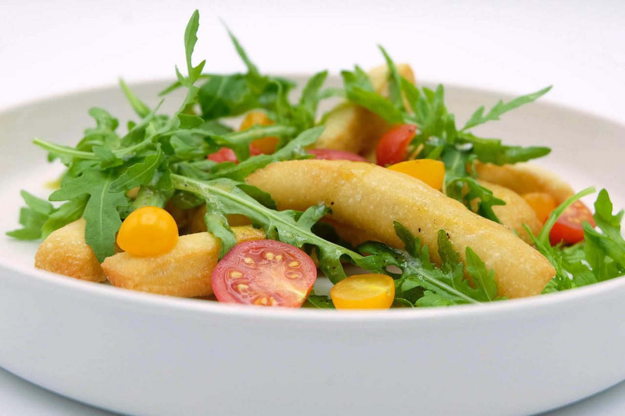 Rezept Angioletti fritti mit Rucola und Tomaten Popdish Foodblog Gerichte, die knallen